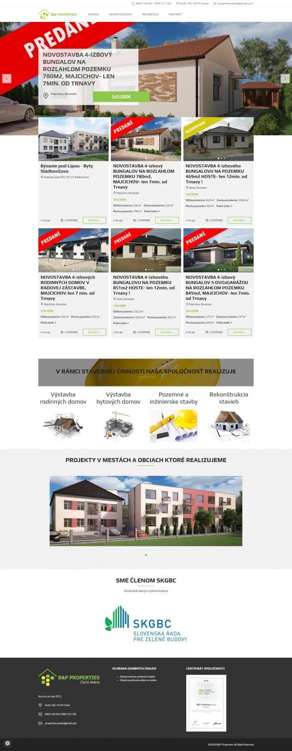 Tvorba webových stránok - bpproperties.sk