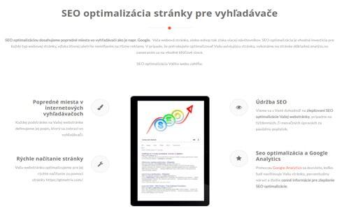 webstránka optimalizovaná pre vyhľadávače