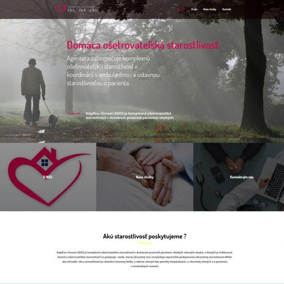 Webstránka pre firmu venujúcej sa domácej ošetrovateľskej starostlivosti