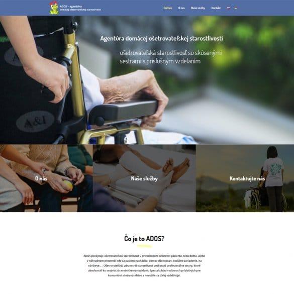 Webstránka pre firmu venujúcej sa ošetrovateľskej starostlivosti