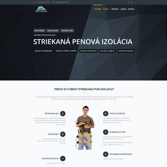 Nová webstránka pre firmu venujúcej sa izolácii striekanou penovou izoláciou PUR