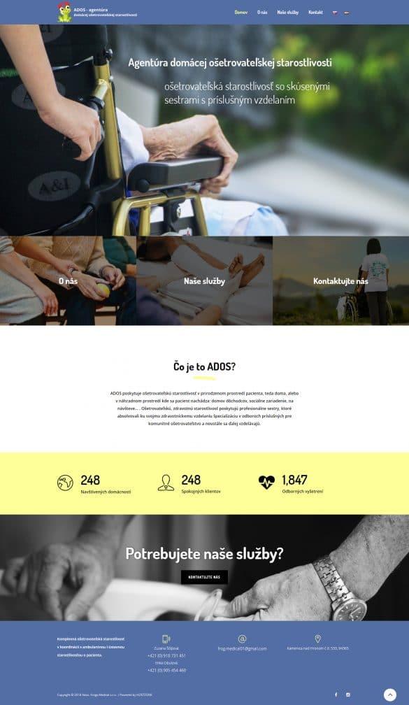 Tvorba webovej stranky ados-frogsmedical.sk
