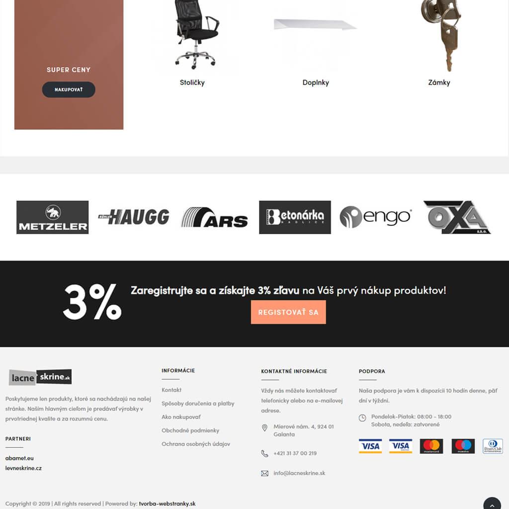 vytvorená webstránka Lacneskrine.sk