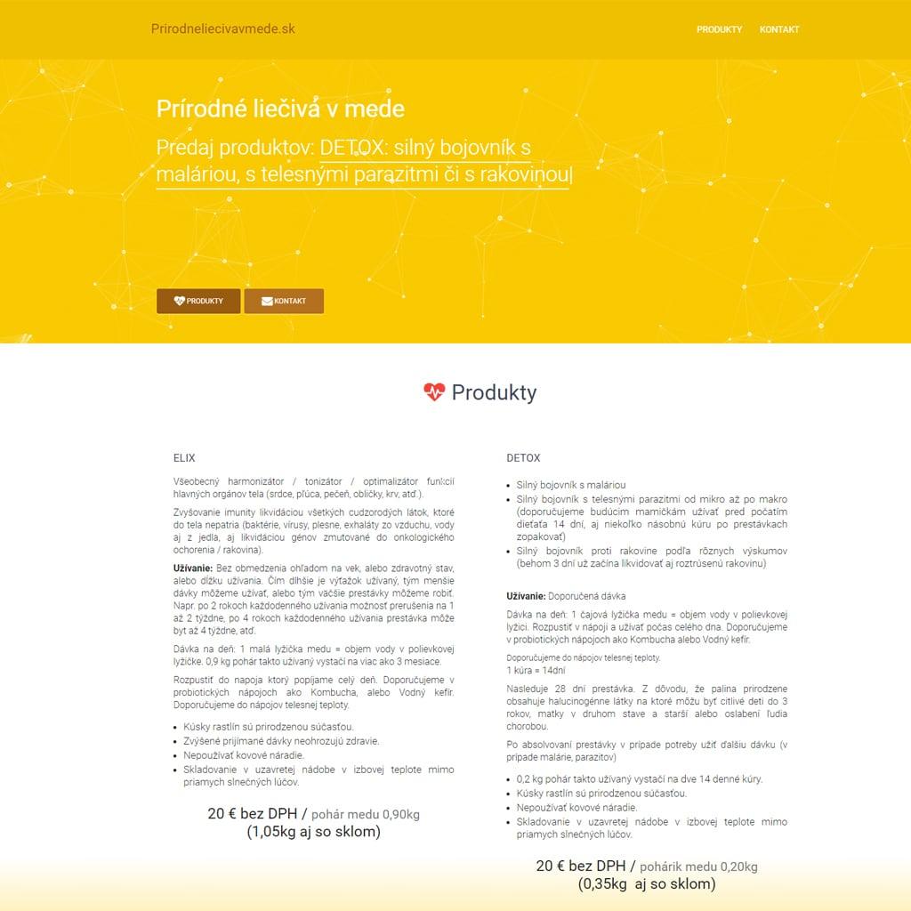 tvorba webovych stranok, tvorba eshopu - prirodneliecivavmede.sk